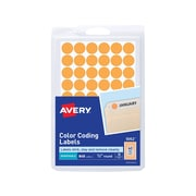 "Avery Hand Written Color Coding Labels, 1/2"" Dia., Neon Orange, 60/Sheet, 14 Sheets/Pack (5062)"