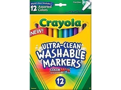 Crayola Ultra-Clean Washable Markers, Fine, Assorted Colors, 12/Box (58-7813)