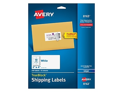 "Avery TrueBlock Inkjet Shipping Labels, 2"" x 4"", White, 10/Sheet, 25 Sheets/Pack (8163)"