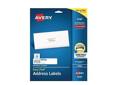 """Avery Easy Peel Inkjet Address Labels, 1"""" x 4"""", White, 20/Sheet, 25 Sheets/Pack (8161)"""