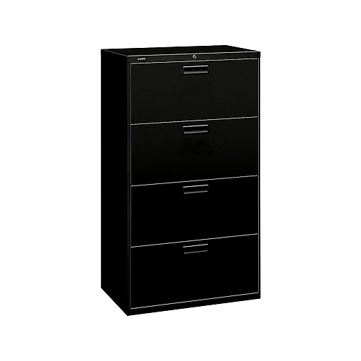Fine Hon 500 Series 4 Drawer Lateral File Cabinet Locking Letter Legal Black 30 H574Lp Home Interior And Landscaping Transignezvosmurscom