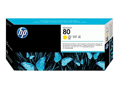 HP 80 DesignJet C4823A Printhead and Printhead Cleaner, Yellow