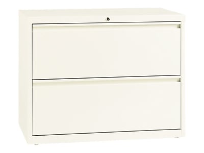 Lorell 2-Drawer Lateral File Cabinet, Locking, Letter/Legal, Beige, 36