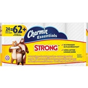 Charmin Essentials Strong 1-Ply Standard Toilet Paper, White, 300 Sheets/Roll, 24 Rolls/Carton (96897)