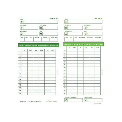 uPunch Time Cards for HN1000/3000 Time Clocks, 100/Pack (HNTCG1100)