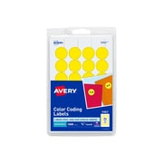"""Avery Laser/Inkjet Color Coding Labels, 3/4"""" Dia., Yellow, 24/Sheet, 42 Sheets/Pack (5462)"""