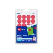 "Avery Laser/Inkjet Color Coding Labels, 3/4"" Dia., Red, 24/Sheet, 42 Sheets/Pack (5466)"