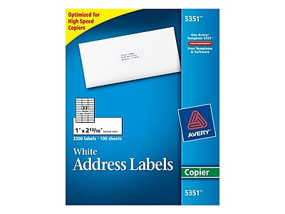 """Avery Copier Address Labels, 1"""" x 2 13/16"""", White, 33/Sheet, 100 Sheets/Pack (5351)"""