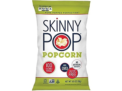 Skinny Pop Popcorn, Original, 0.65 Oz., 24/Carton