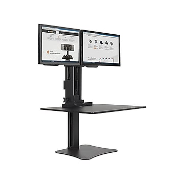"""Victor Technology High Rise™ Manual Dual Monitor Standing Desk, 28"""" W, Laminate Wood (DC350)"""