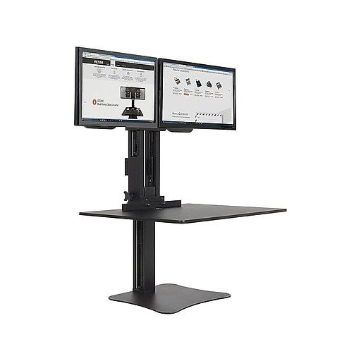"Victor® High Rise™ Manual Dual Monitor Standing Desk, 28"" W, Laminate Wood (DC350)"