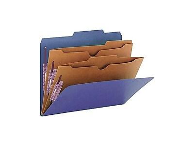 Smead Pressboard Classification Folders, Letter Size, 2 Dividers, Dark Blue, 10/Box (14077)