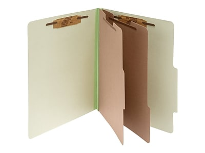 ACCO Pressboard Classification Folders, 6-Parts, Letter Size, 2 Dividers, Leaf Green, 10/Box (A7015046)