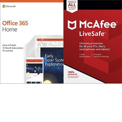 Microsoft Office 365 Home McAfee LiveSafe Bundle for Windows/Mac (up to 6  Users) [Download]