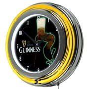 Guinness Chrome Double Rung Neon Clock - Feathering (190836335121)