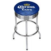 Corona Chrome Ribbed Bar Stool - Griffin (190836246533)