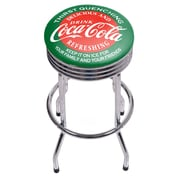 Coca Cola Chrome Ribbed Bar Stool - Red & Green (190836399994)