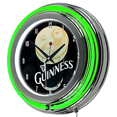 Guinness Chrome Double Rung Neon Clock - Smiling Pint (190836335091)