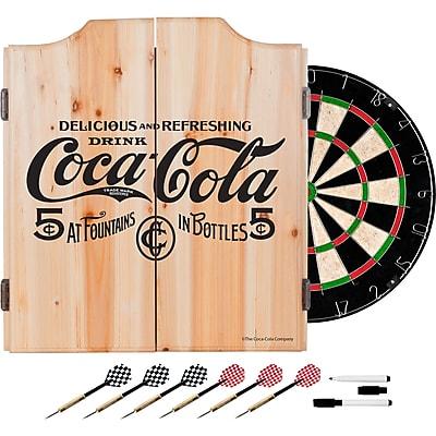 Coca Cola Dart Cabinet Set with Darts and Board - 5 Cents Black (190836399413)