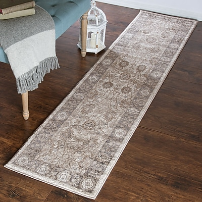 Lavish Home Vintage Floral Rug - Ivory Dark Grey - 1'8