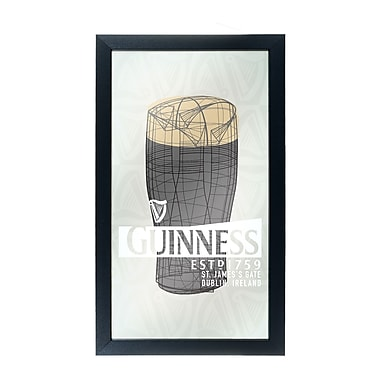 Guinness Framed Mirror Wall Plaque 15 x 26 Inches - Line Art Pint (190836335145)