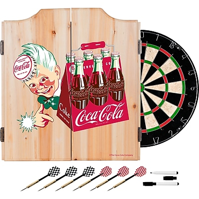 Coca Cola Dart Cabinet Set with Darts and Board - Classic 6 Pack (190836399451)