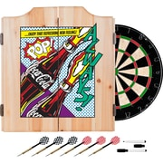 Coca Cola Dart Cabinet Set with Darts and Board - Pop Art Bottle (190836399352)