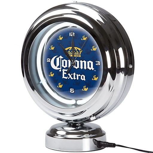 Corona Chrome Retro Style Tabletop Neon Clock - Griffin (190836335367)