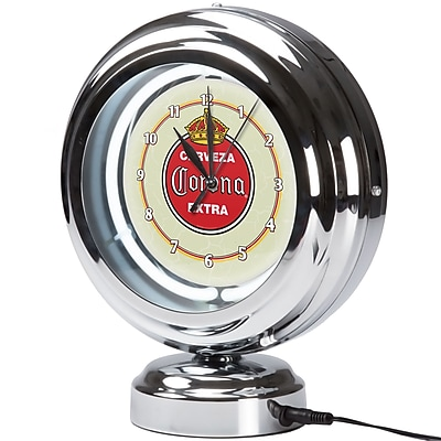 Corona Chrome Retro Style Tabletop Neon Clock - Vintage (190836246472) 2518226