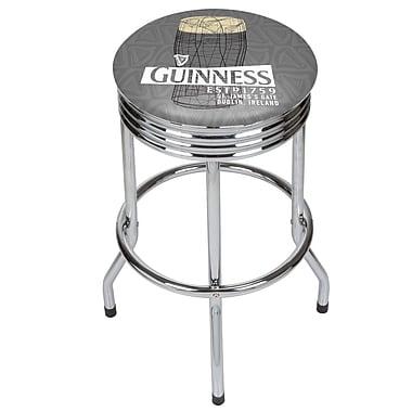 Guinness Chrome Ribbed Bar Stool - Line Art Pint (190836334971)
