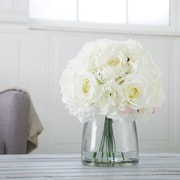 Pure Garden Hydrangea and Rose Floral Arrangement with Vase - Cream (886511984332)