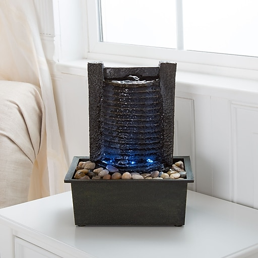 Pure Garden LED Waterfall Tabletop Fountain with LED Lights (886511984417)