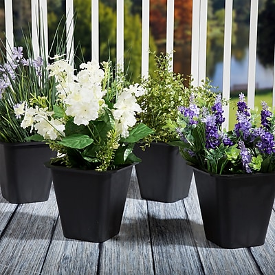 Set of 4 Pure Garden Plastic Flower Pots - 6 x 6 Inch Black (886511977921)