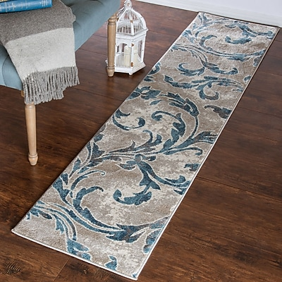 Lavish Home Vintage Leaves Rug - Ivory Blue - 1'8