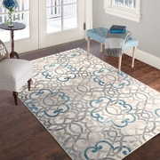 Lavish Home Vintage Interlocking Brocade Rug - Ivory Blue - 8' x 10' (886511973381)