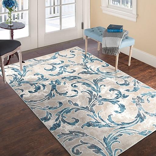 """Lavish Home Vintage Leaves Rug - Ivory Blue - 5' x 7'7"""" (886511973220)"""