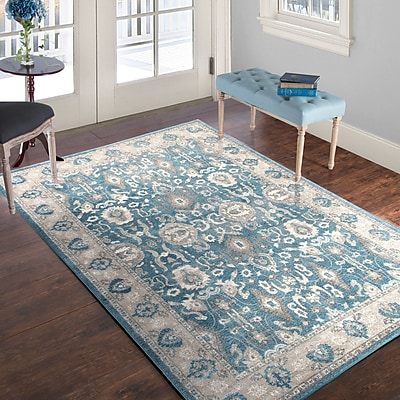 Lavish Home Vintage Floral Rug - Blue - 8' x 10' (886511973312)