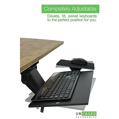 Uncaged Ergonomics KT1 Ergonomic Under-Desk Keyboard Tray Black (KT1)