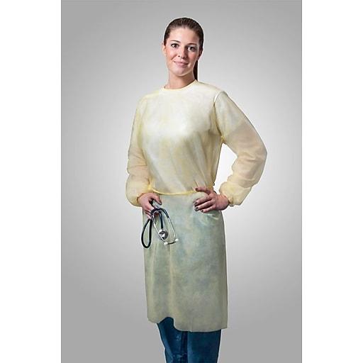 Tronex Fluid-Resistant Spunbond Isolation Gown, Unisex, Unisize, Isolation Gown, Yellow (554025Y)