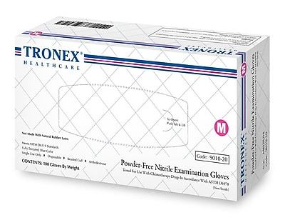 Tronex Nitrile Chemo-Rated Powder Free Fully Textured, Blue, Examination Gloves, Small (9010-10)