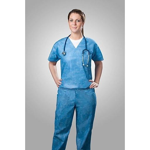 Tronex Spunbond Disposable Scrub Shirt, Medium, Scrub Shirt, Blue (SMS220-20)