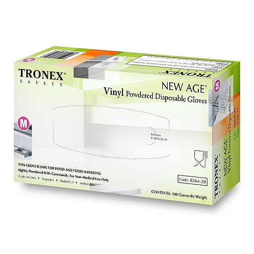 """Tronex Vinyl """"New Age®"""" Gloves, Latex Free, Natural, Disposable Gloves, Large (8264-30)"""