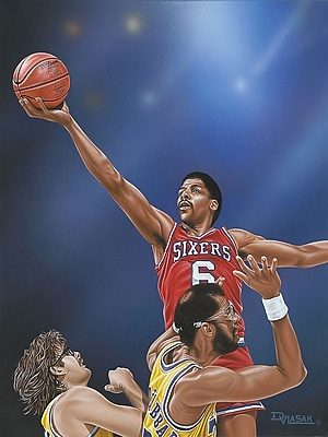 Diamond Decor Dr. J Going to the Rim Artwork Canvas 12 x 16 in. (DV2026CS)