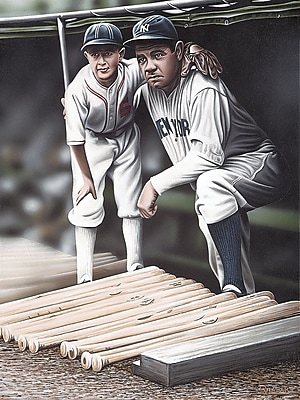 Diamond Decor Wall Art Babe Ruth and the Bat Boy Artwork Canvas 24 x 32 in. (DV2007CL)