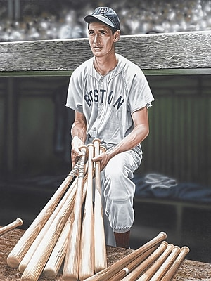 Diamond Decor Wall Art Ted Williams on Deck Artwork Canvas 18 x 24 in. (DV2015CM)