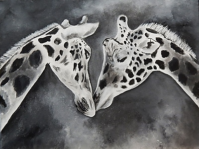 Diamond Decor Wall Art Kissing Giraffe 24 x 32 in. (EDC044CL)