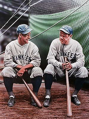 Diamond Decor Babe Ruth and Lou Gehrig Artwork Canvas 12 x 16 in. (DV2001CS)
