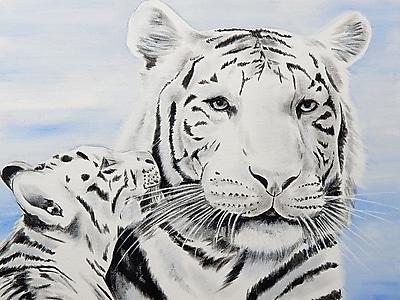 Diamond Decor Wall Art White Tiger and Cub 18 x 24 in. (EDC012CM)