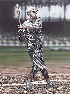 Diamond Decor Wall Art Babe Ruth as a Red Sox Artwork Canvas 24 x 32 in. (DV2009CL)