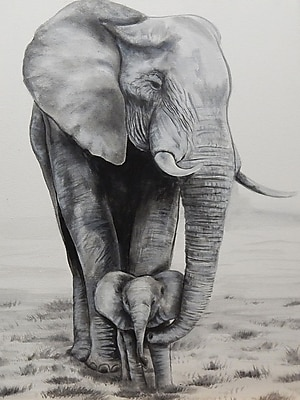 Diamond Decor Wall Art Elephant Love 18 x 24 in. (EDC045CM)